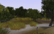 A Sim fishing in the marshland area of Twinbrook, the town included with Ambitions