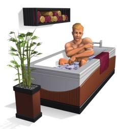 Render of someone having a bath in a new item from The Sims 3 Master Suite Stuff