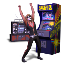 A Sim celebrating after playing an arcade machine