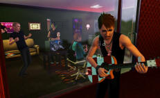 A Sim playing guitar