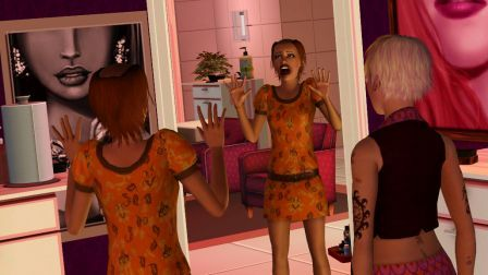 Unhappy makeover recipient in The Sims 3 Ambitions
